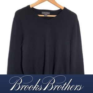 Brooks Brothers Stretch Men's V Neck Solid Sweater